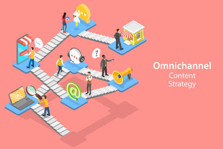 3D Isometric Flat Vector Concept of Cross-Channel, Omnichannel.