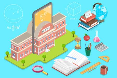 3D Isometric Flat Vector Concept of Online School.