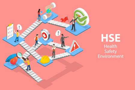 3D Isometric Flat Vector Concept of HSE, Health Safety Environment. Vektorgrafik