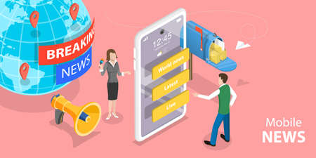 3D Isometric Flat Vector Concept of Online News App, Digital Worldwide Media.