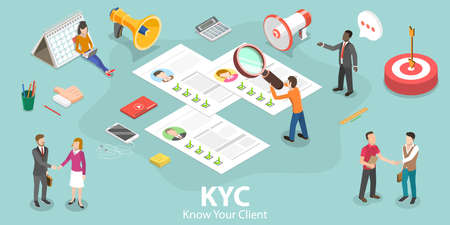 3D Isometric Flat Vector Concept of KYC - Know Your Customer.
