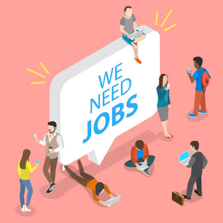 3D Isometric Flat Vector Conceptual Illustration of Searching for a Job