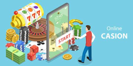 3D Isometric Flat Vector Conceptual Illustration of Online Gambling Platform. Stock Illustratie