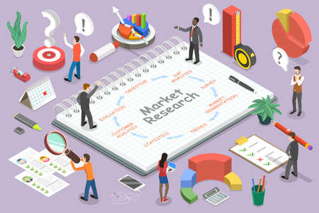3D Isometric Flat Vector Conceptual Illustration of Market Research