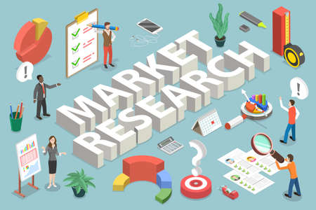 3D Isometric Vector Conceptual Illustration of Market Research