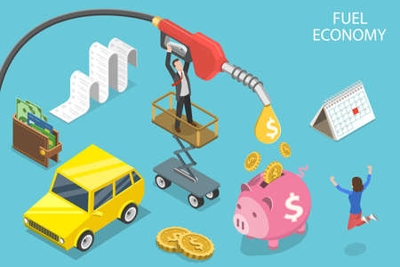 3D Isometric Flat Vector Conceptual Illustration of Fuel Economy.