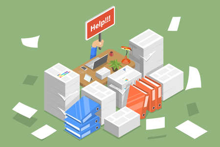 3D Isometric Flat Vector Conceptual Illustration of Stressed Businessman. Vectores