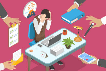 3D Isometric Flat Vector Conceptual Illustration of Exhausted Office Woker.