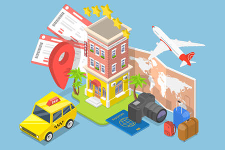 3D Isometric Flat Vector Conceptual Illustration of Trip Booking Service. 向量圖像