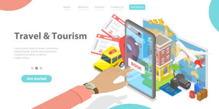3D Isometric Flat Vector Landing Page Template of Trip Booking Online App.