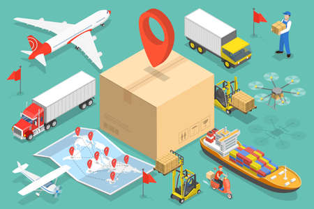 3D Isometric Flat Vector Conceptual Illustration of International Cargo Delivery