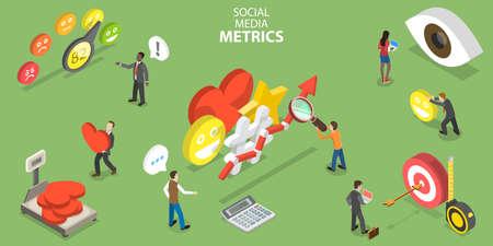 3D Isometric Flat Vector Conceptual Illustration of Social Media Metrics.