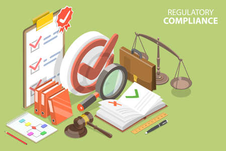 3D Isometric Flat Vector Conceptual Illustration of Regulatory Compliance.