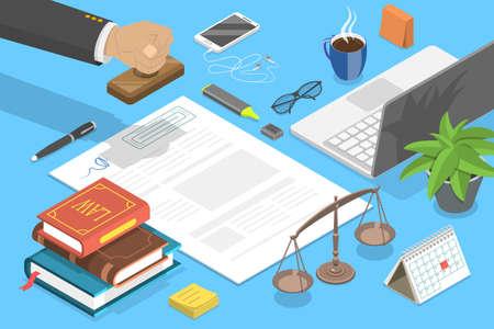 Notary Service, Legal Advice. 3D Isometric Flat Vector Conceptual Illustration. Vektorgrafik