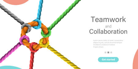 Teamwork and Collaboration. Vector Conceptual Landing Page Template.
