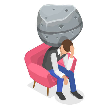 3D Isometric Flat Vector Conceptual Illustration of Frustrated and Depressed Man.