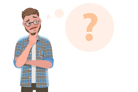 3D Flat Vector Conceptual Illustration of Handsome Bearded Man is Thinking.