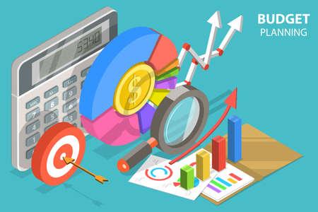 3D Isometric Flat Vector Conceptual Illustration of Budget Planning. Vektorgrafik