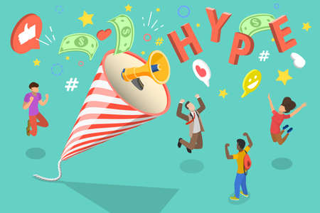 3D Isometric Flat Vector Conceptual Illustration of Hype Marketing.