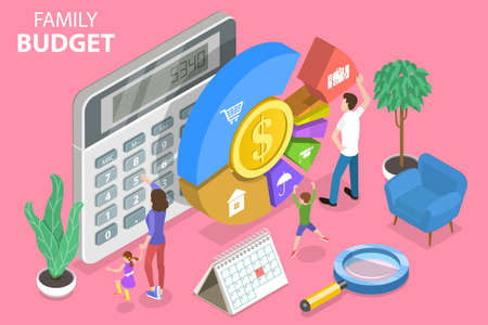 3D Isometric Flat Vector Conceptual Illustration of Family Budget Management.