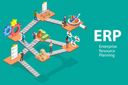 3D Isometric Flat Vector Conceptual Illustration of ERP - Enterprise Resource Planning.