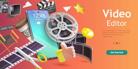 3D Isometric Flat Vector Conceptual Illustration of Mobile Video Editing App.