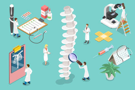 3D Isometric Vector Conceptual Illustration of Diagnostics and Treatment of Spinal Disorders.