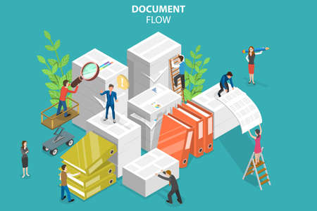 3D Isometric Flat Vector Conceptual Illustration of Document Flow
