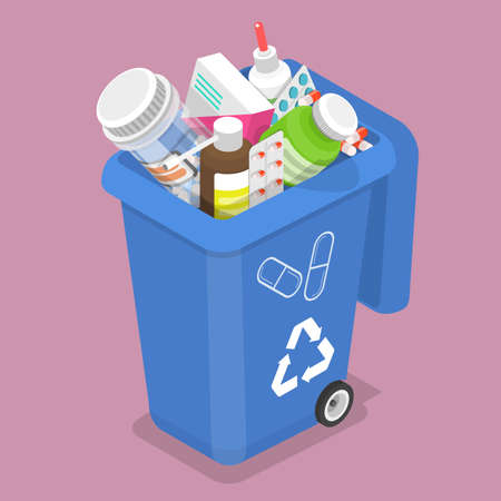 3D Isometric Vector Illustration of Container for Expired and Unused Drugs. Vektorgrafik
