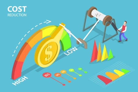 3D Isometric Flat Vector Conceptual Illustration of Cost Reduction, Falling Rate of Profit Çizim