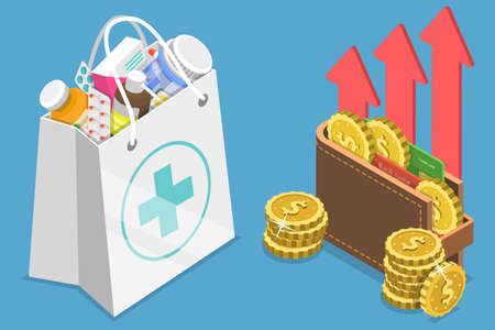 3D Isometric Flat Vector Conceptual Illustration of Rising Health Care Costs Çizim