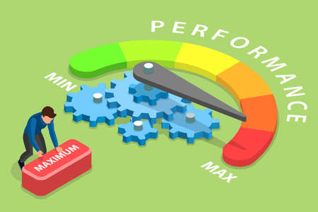 3D Isometric Flat Vector Conceptual Illustration of Efficient Performance Management System