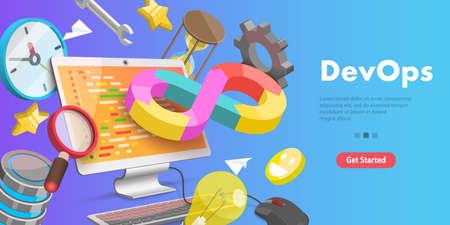 3D Vector Conceptual Illustration of DevOps, Development and Operations. Ilustração
