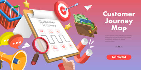 3D Isometric Flat Vector Conceptual Illustration of Customer Journey Map