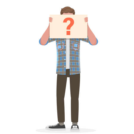 Vector Conceptual Illustration of Anonymous Man with Question Mark.