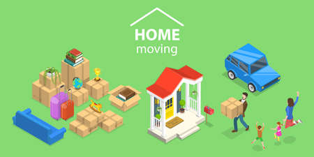 3D Isometric Flat Vector Conceptual Illustration of House Moving.