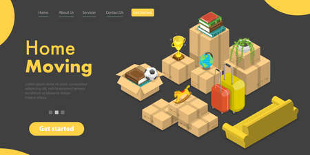 3D Isometric Vector Landing Page Template of House Moving and Relocation Service.