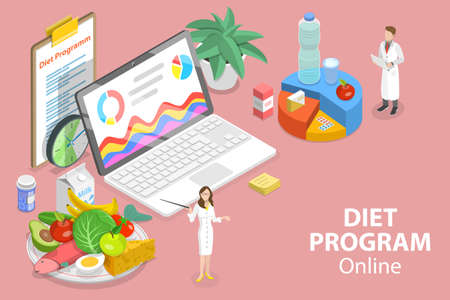 3D Isometric Flat Vector Conceptual Illustration of Online Diet Program.