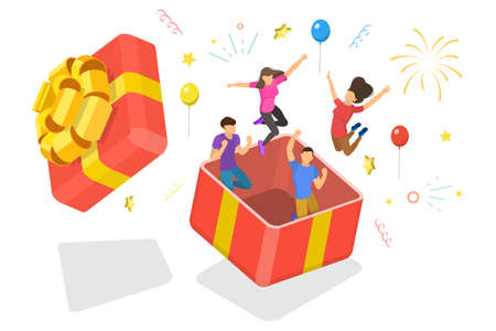 3D Isometric Flat Vector Conceptual Illustration of Surprise for Friend on Birthday.