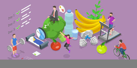 3D Isometric Flat Vector Conceptual Illustration of Healthy Habits, Exercising.