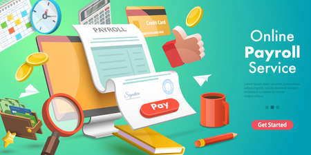 3D Isometric Flat Vector Conceptual Illustration of Payroll or Salary Payment.