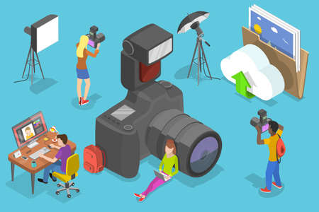 3D Isometric Vector Conceptual Illustration of Digital Photography Courses.