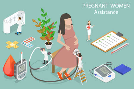 3D Isometric Flat Vector Conceptual Illustration of Pregnant Woman Assistance.