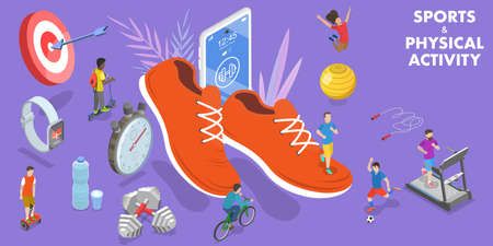 3D Isometric Vector Conceptual Illustration of Sports and Physical Activity. Ilustração