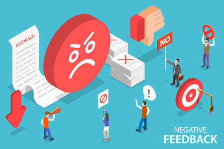 3D Isometric Flat Vector Conceptual Illustration of Negative Feedback.