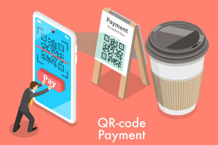 3D Isometric Flat Vector Conceptual Illustration of QR-code Digital Mobile Payment.