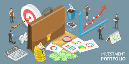 3D Isometric Vector Conceptual Illustration of Building an Investment Portfolio.