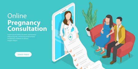 3D Isometric Flat Vector Conceptual Illustration of Online Pregnancy Consultation.