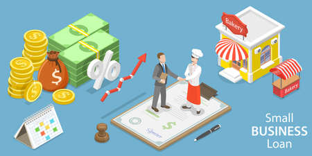 3D Isometric Flat Vector Conceptual Illustration of Small Business Loan. Ilustração