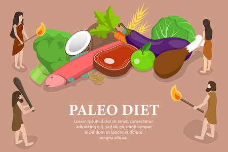 3D Isometric Flat Vector Conceptual Illustration of Paleo Diet.